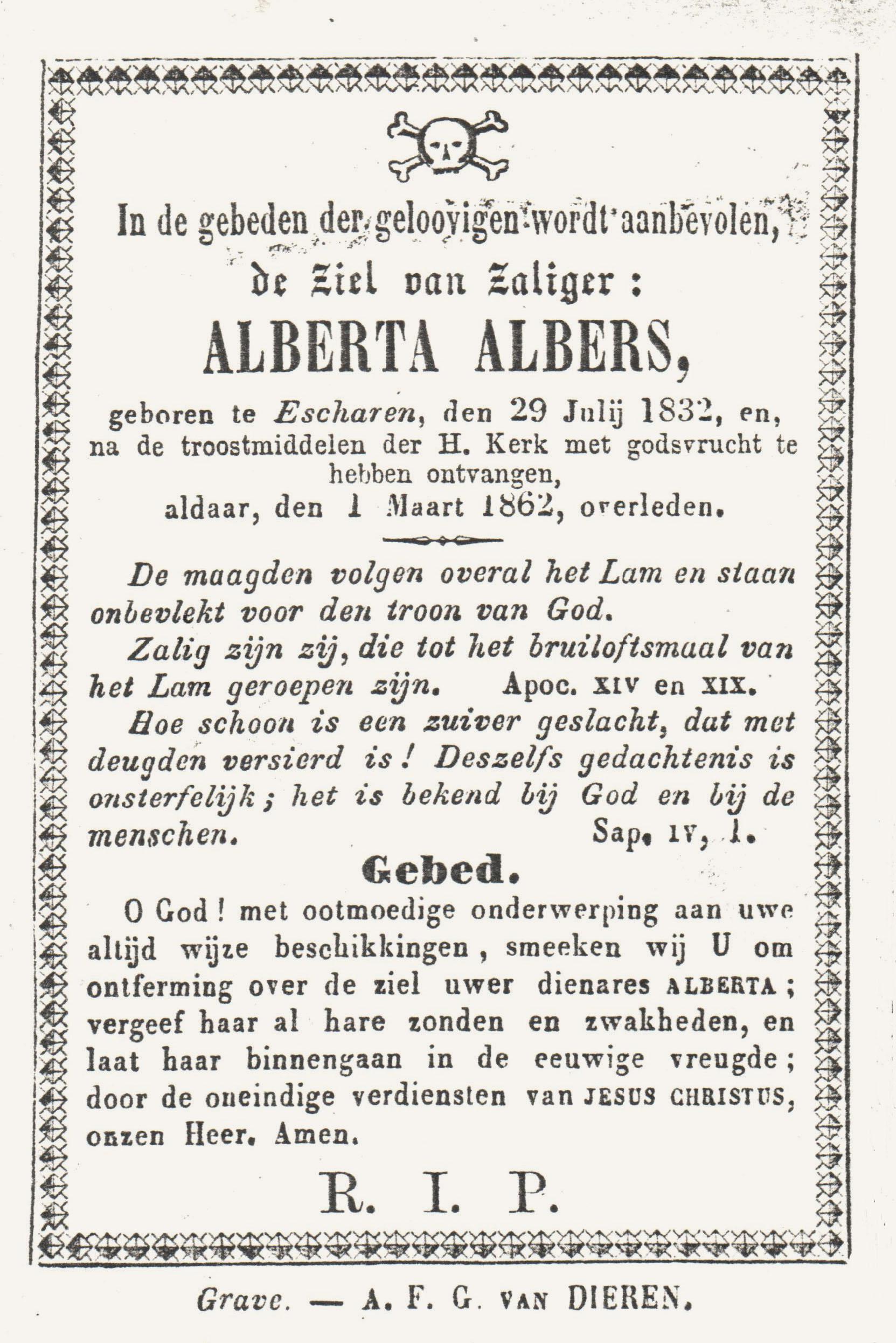 Bidprentje Alberta Albers