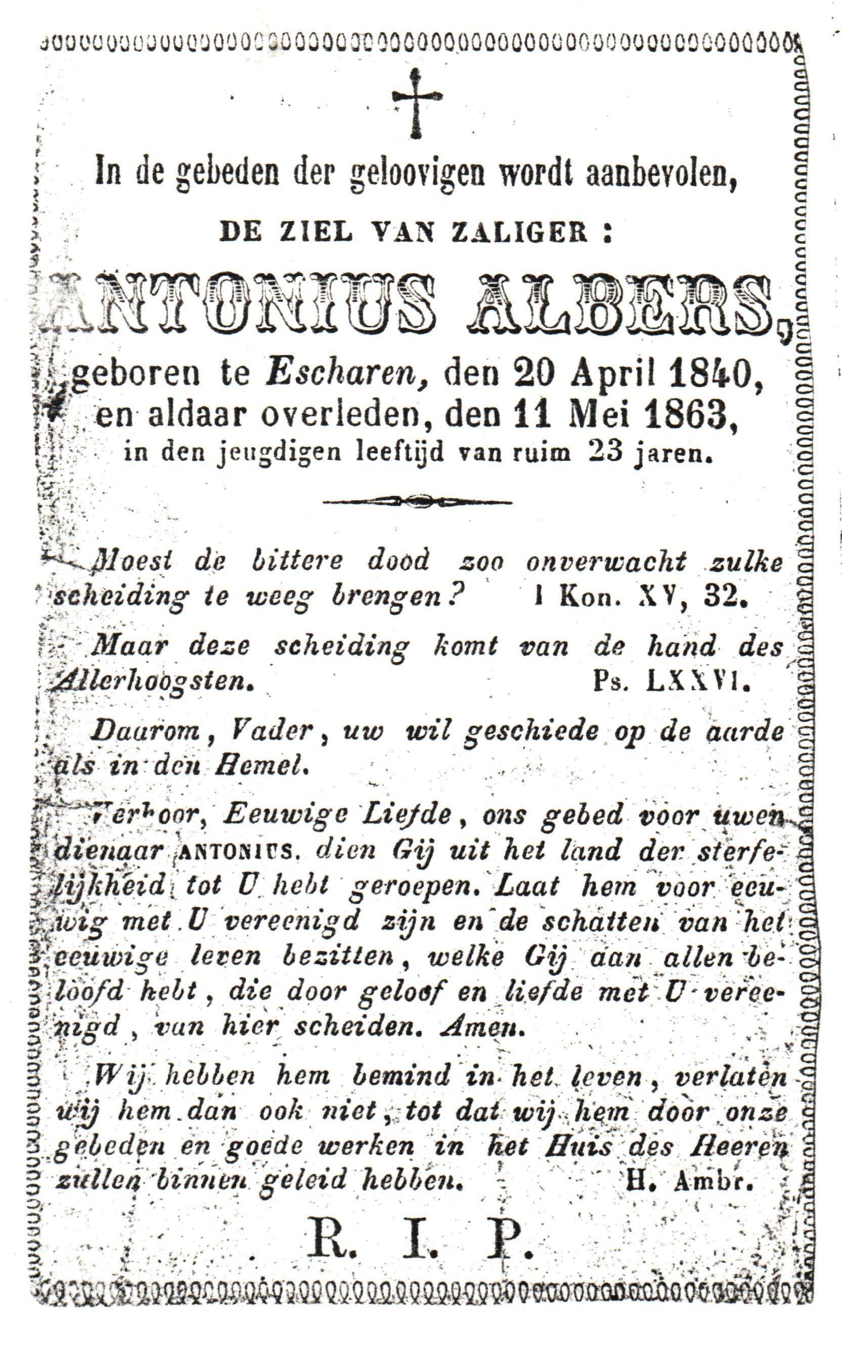 Bidprentje Antonius Albers