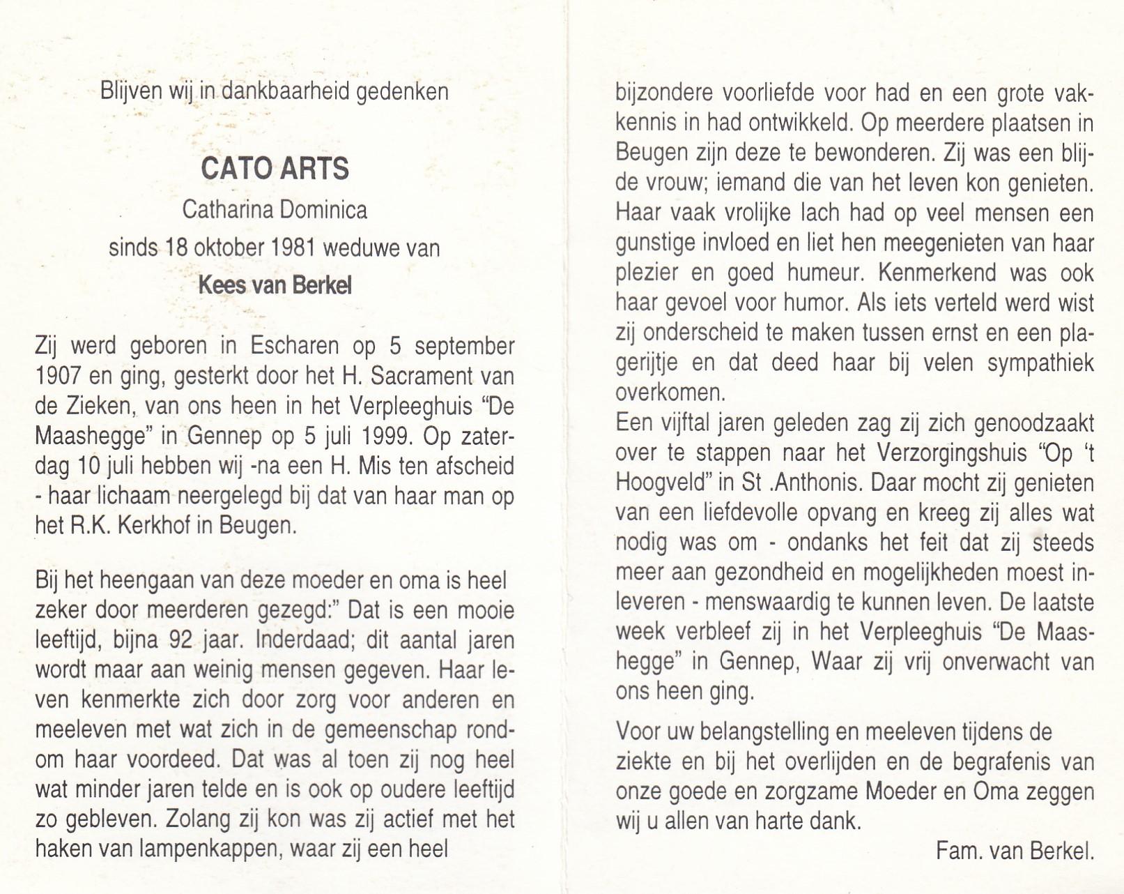 Bidprentje Cato Arts