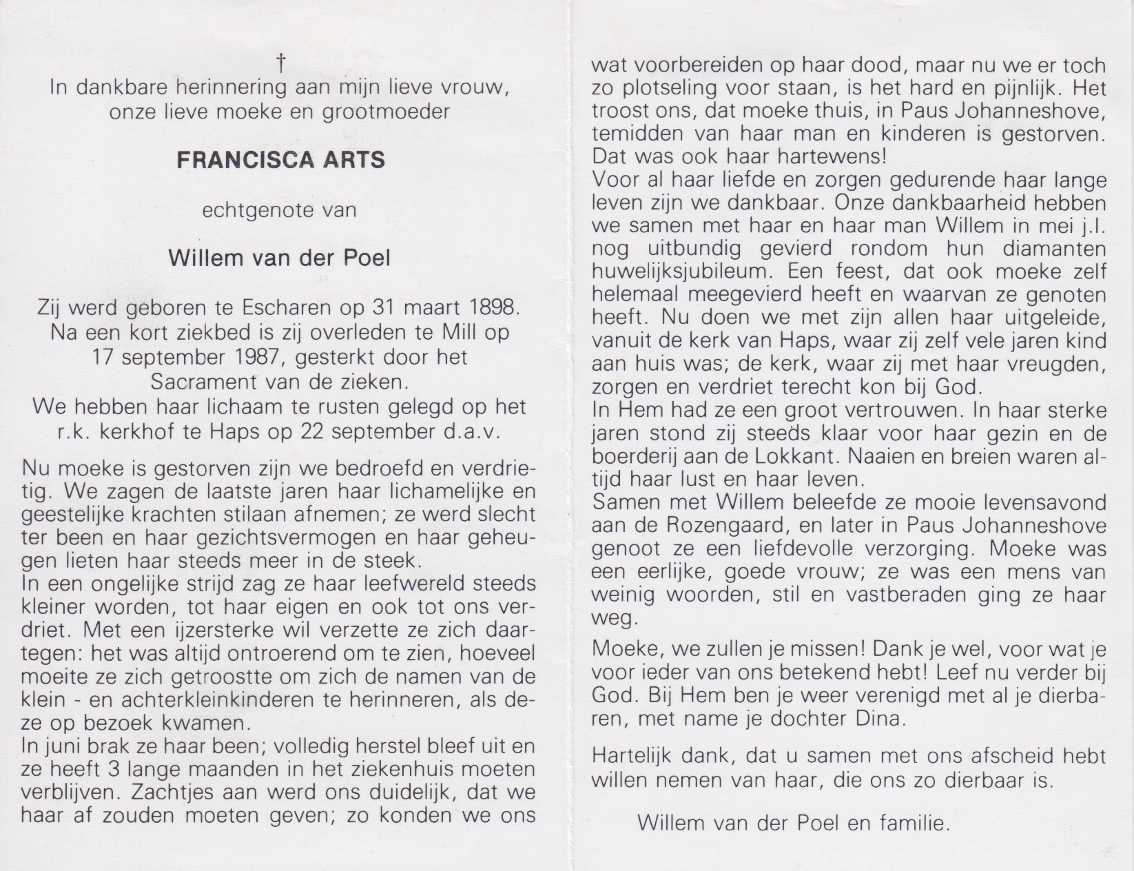 Bidprentje Francisca Arts