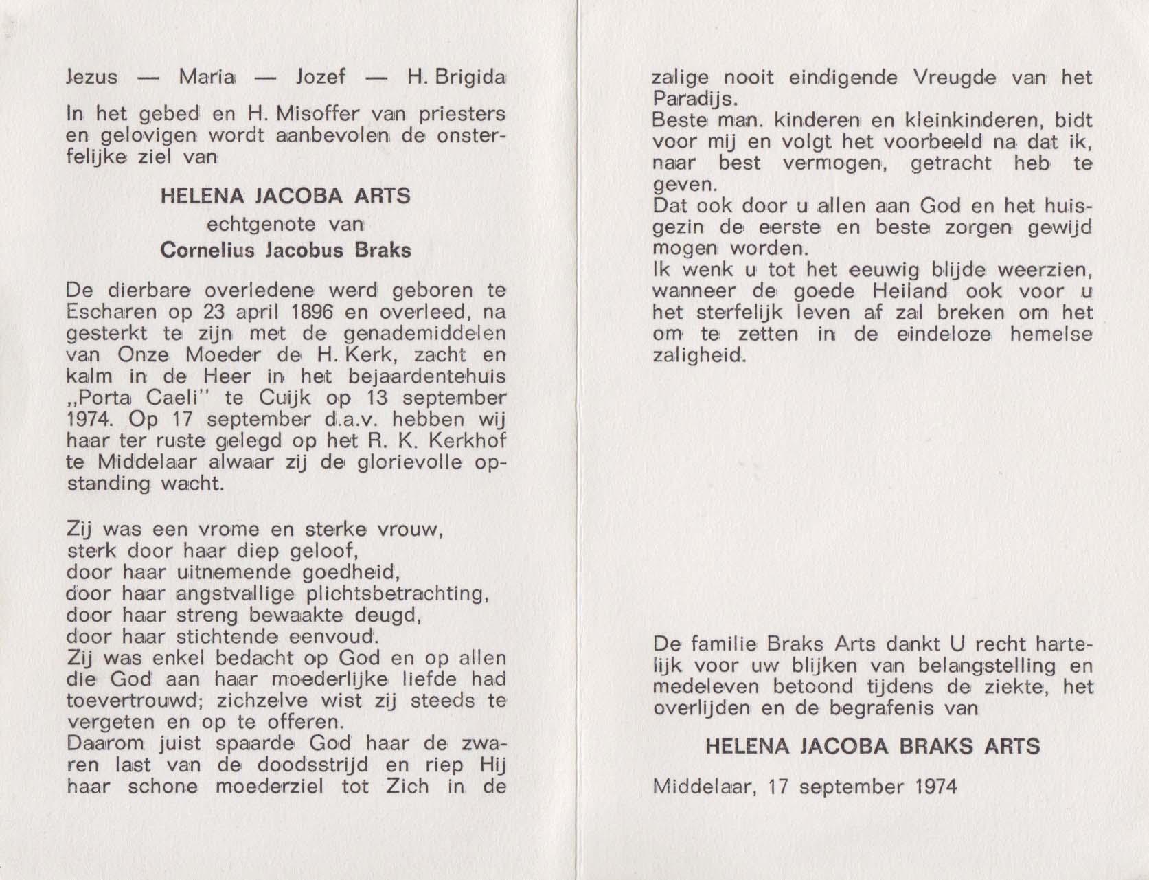 Bidprentje Helena Jacoba Arts