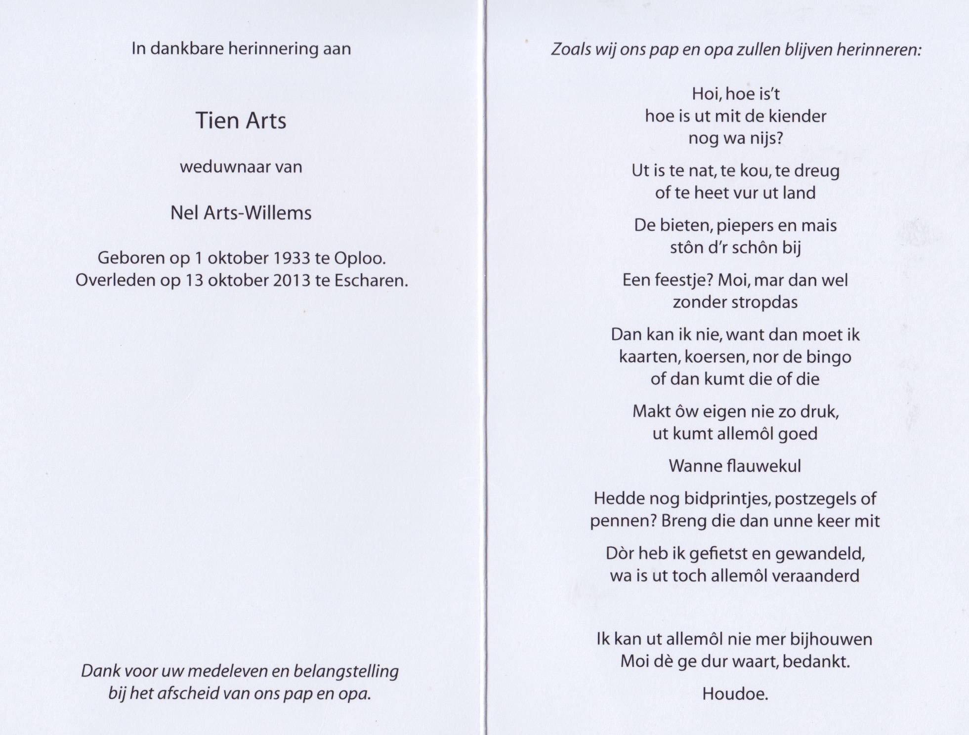 Bidprentje Tien Arts