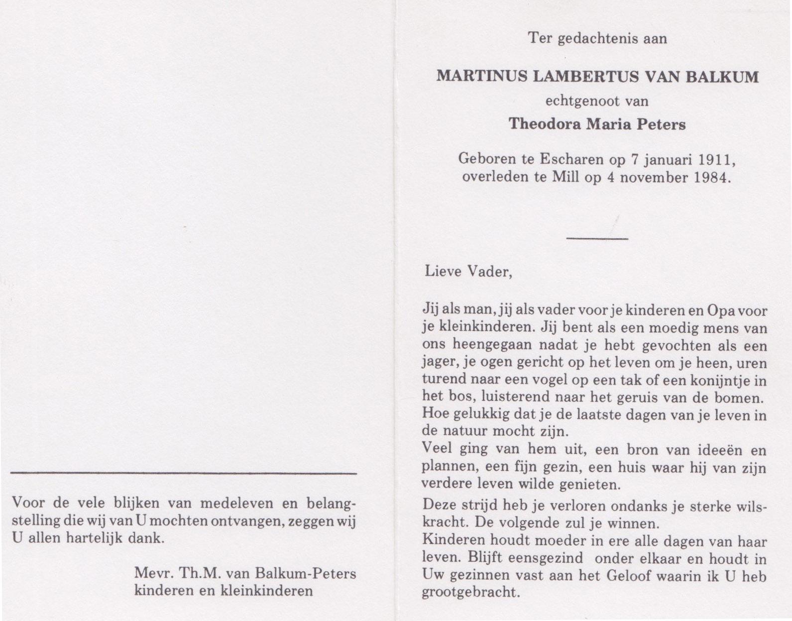 Bidprentje Martinus Lambertusvan Balkum