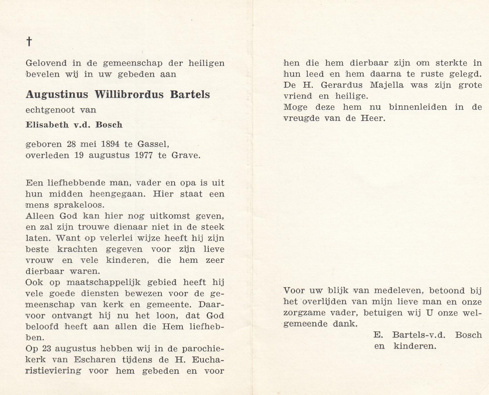 Bidprentje Augustinus Willibrordus Bartels