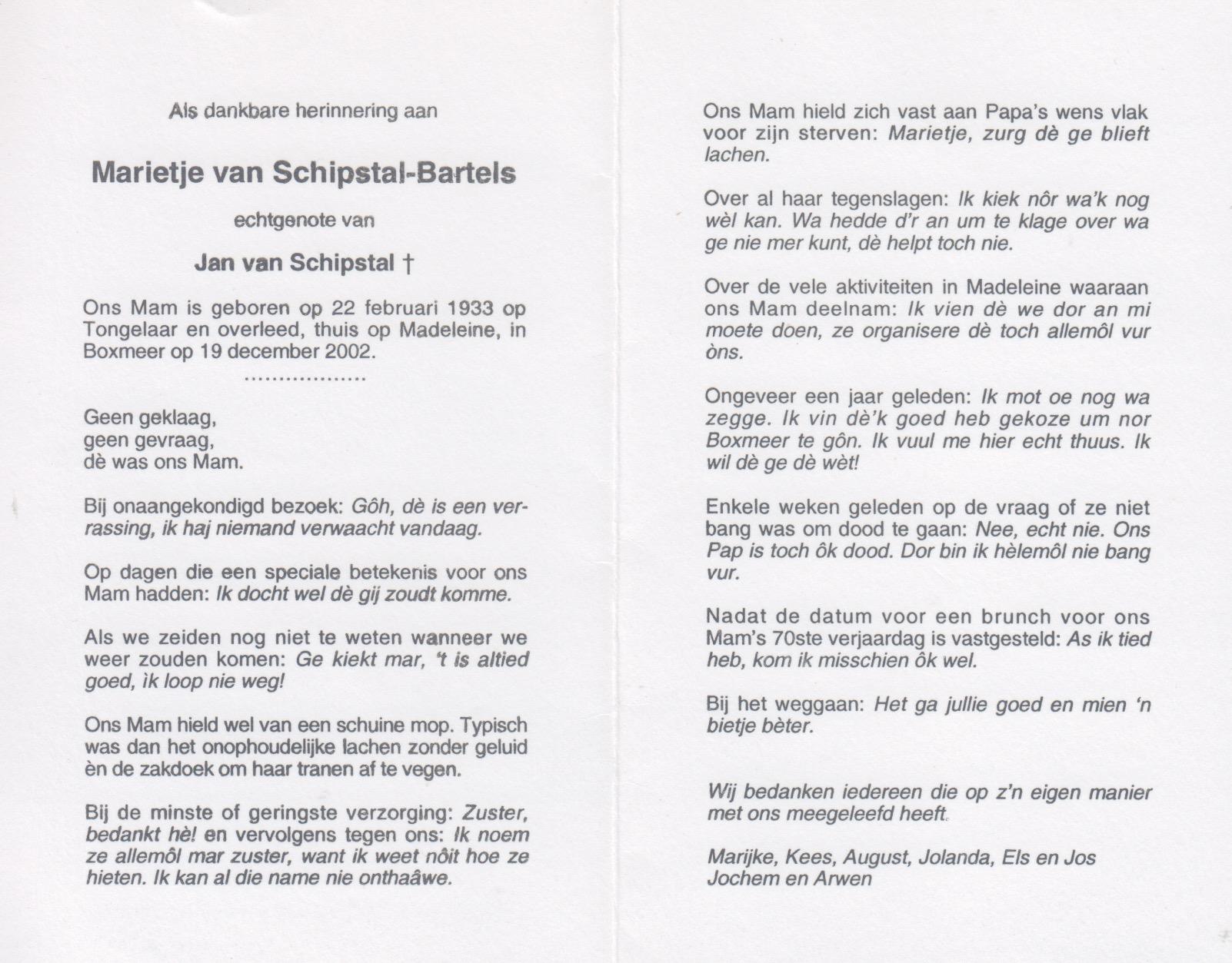 Bidprentje Marietje Bartels