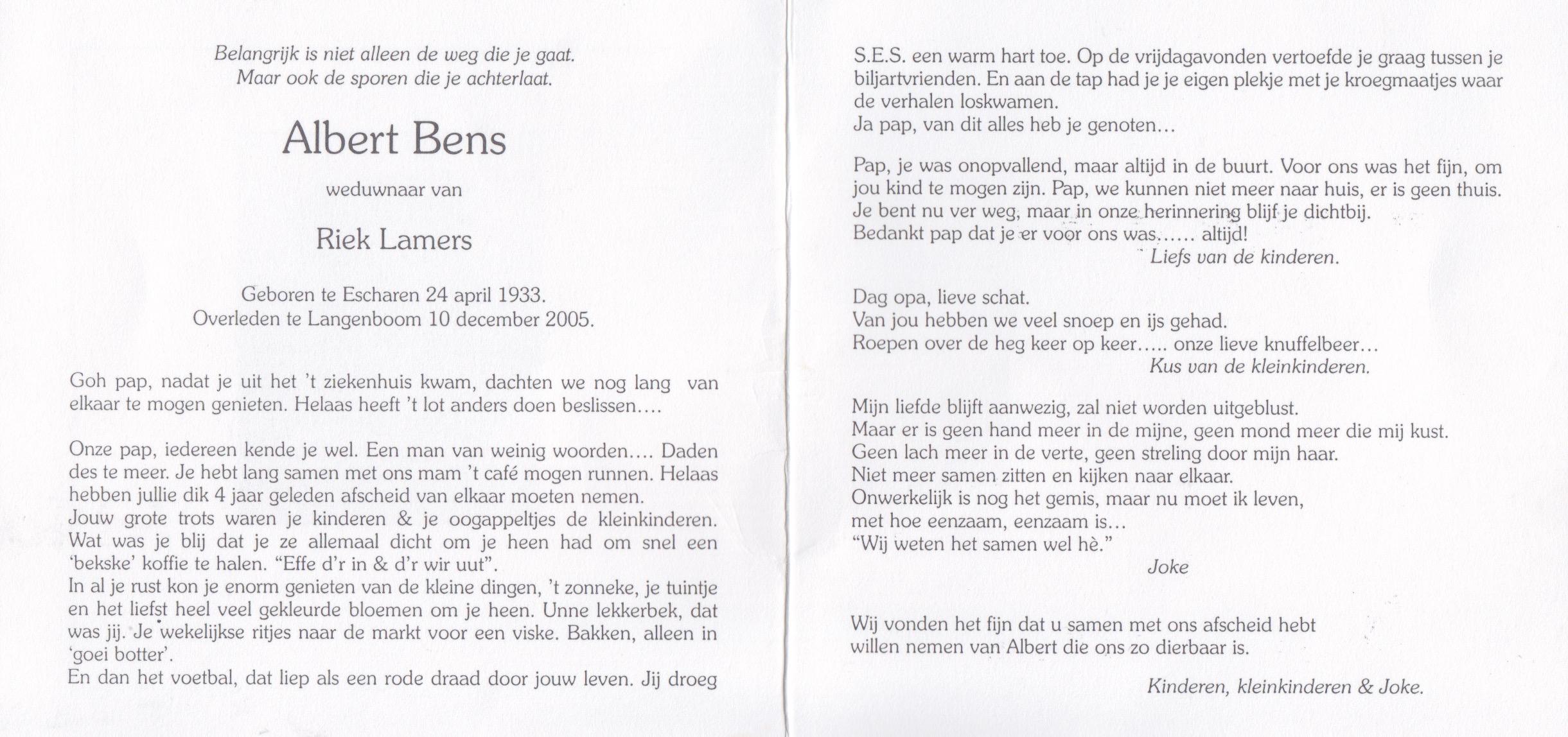 Bidprentje Albert Bens