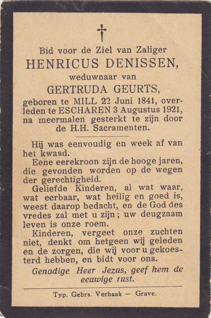 Bidprentje Henricus Denissen