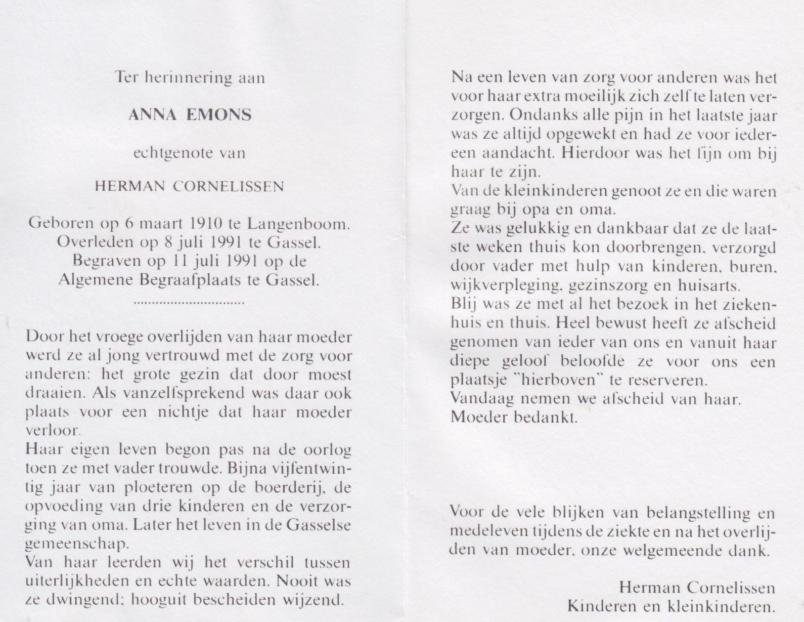Bidprentje Anna Emons