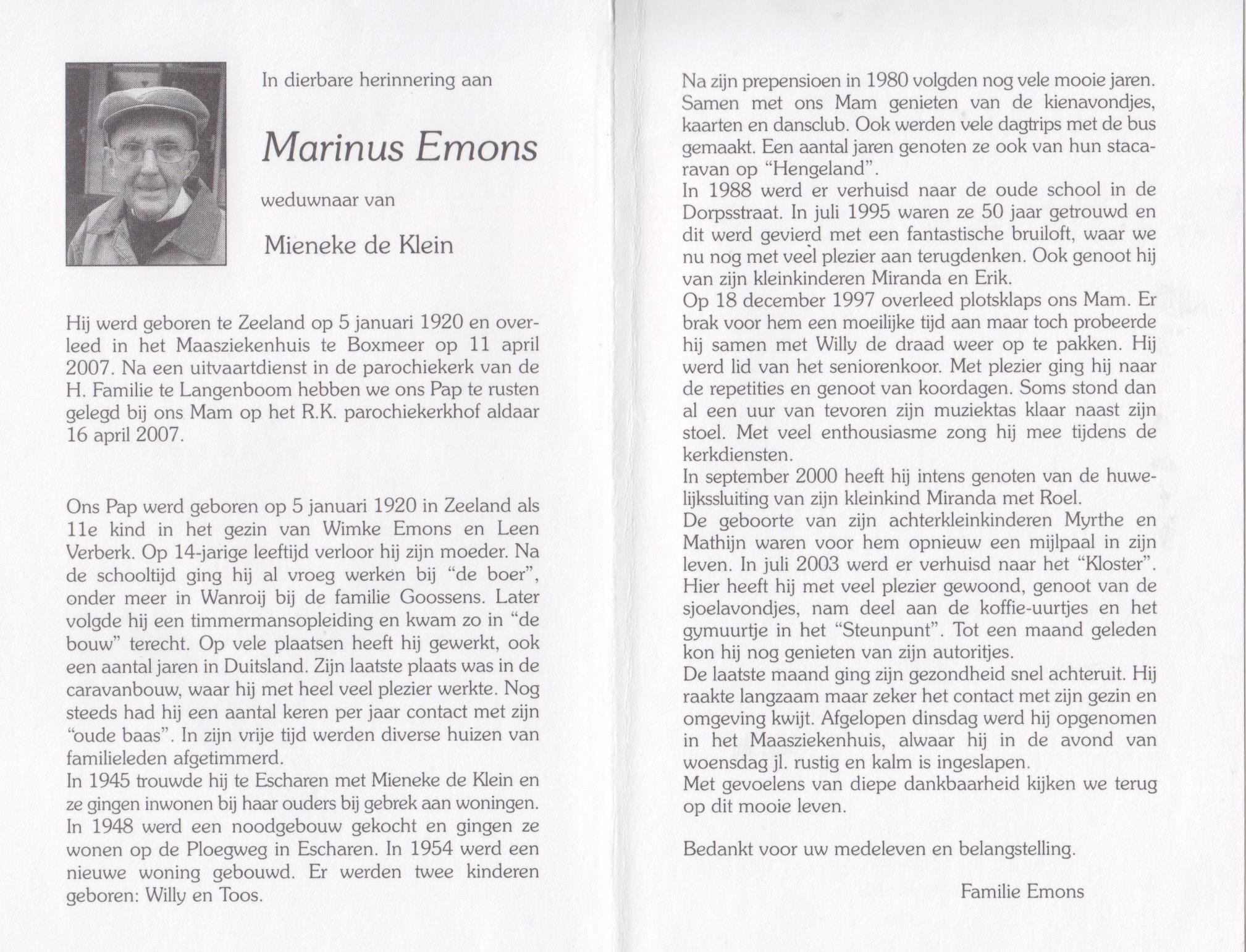 Bidprentje Marinus Emons