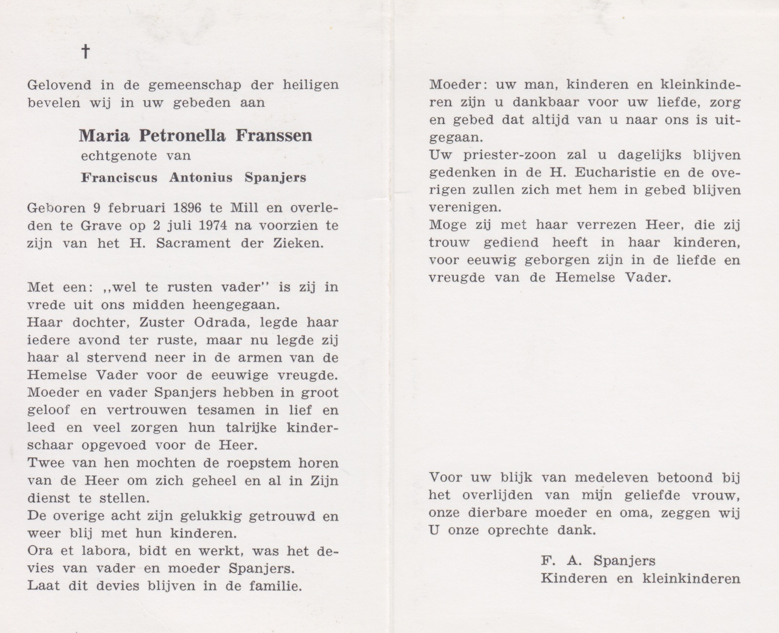 Bidprentje Maria Petronella Franssen
