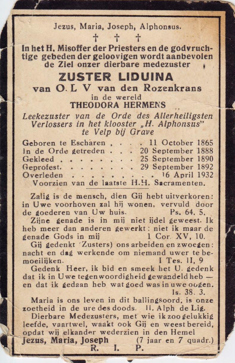 Bidprentje Theodora Hermens