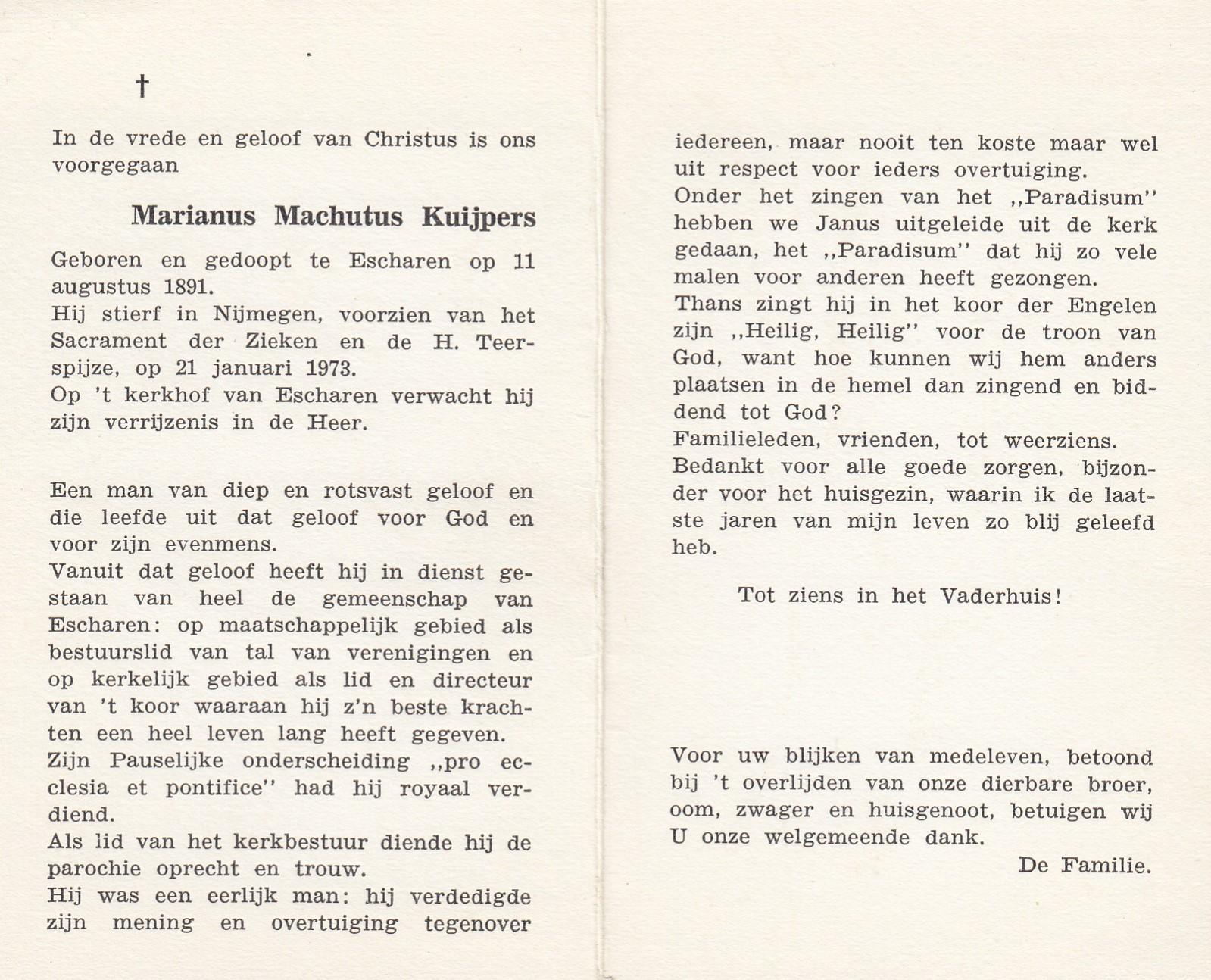 Bidprentje Marianus Machutus Kuijpers