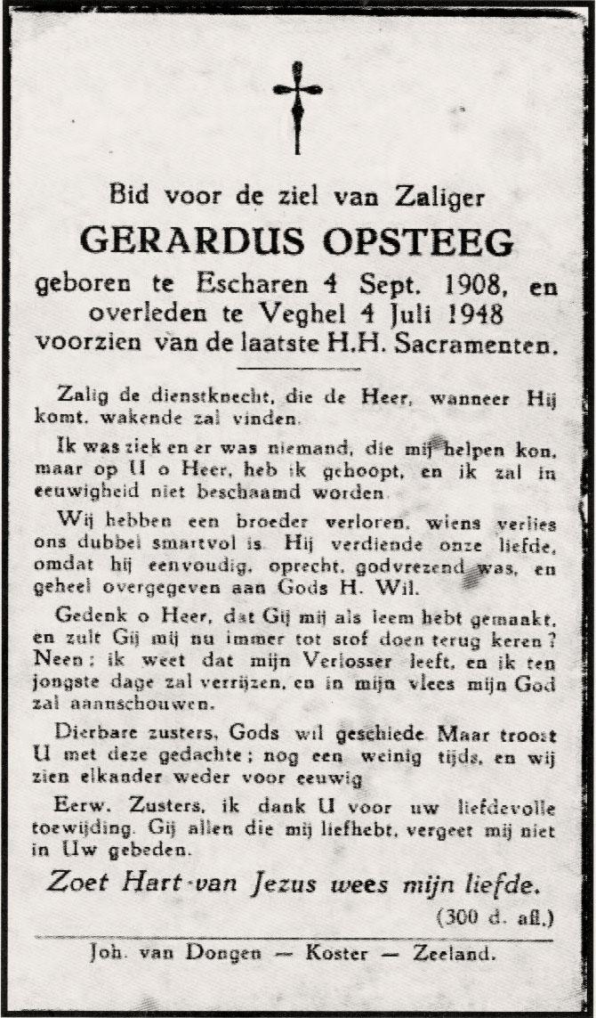 Bidprentje Gerardus Opsteeg