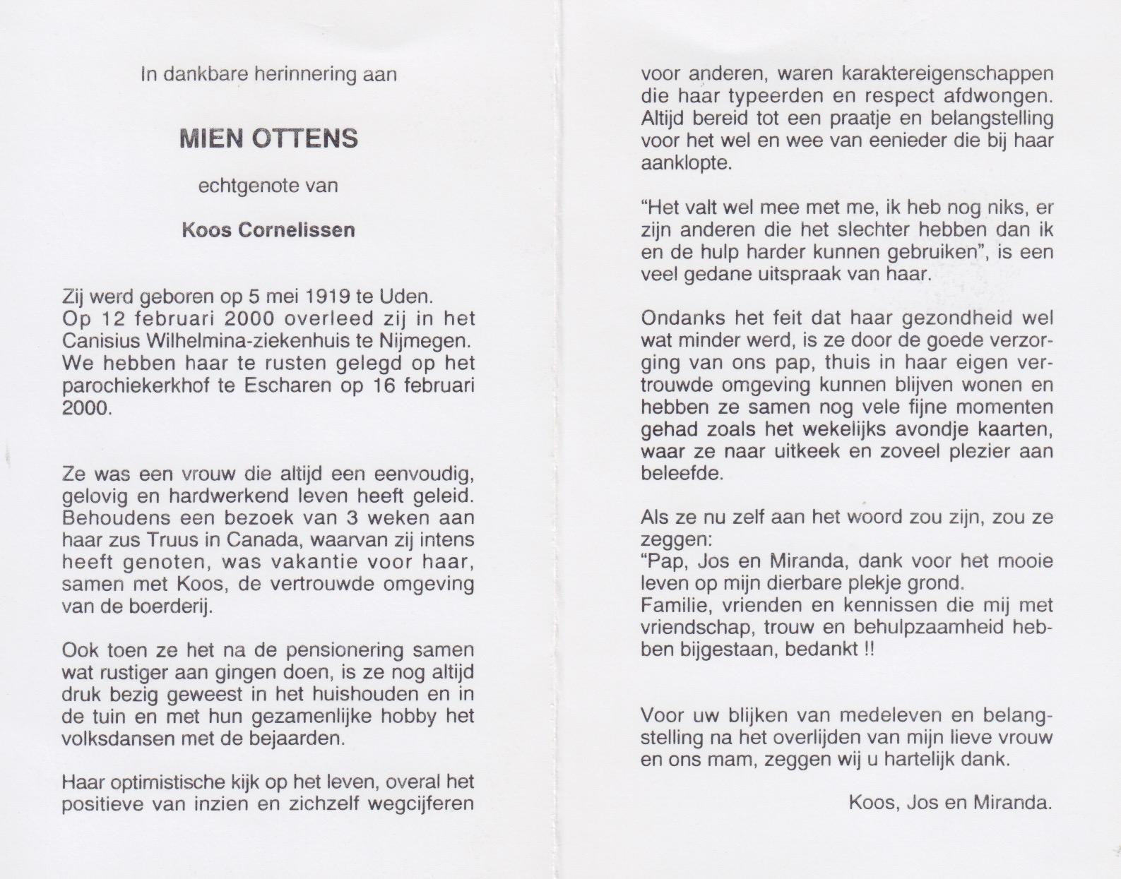 Bidprentje Mien Ottens