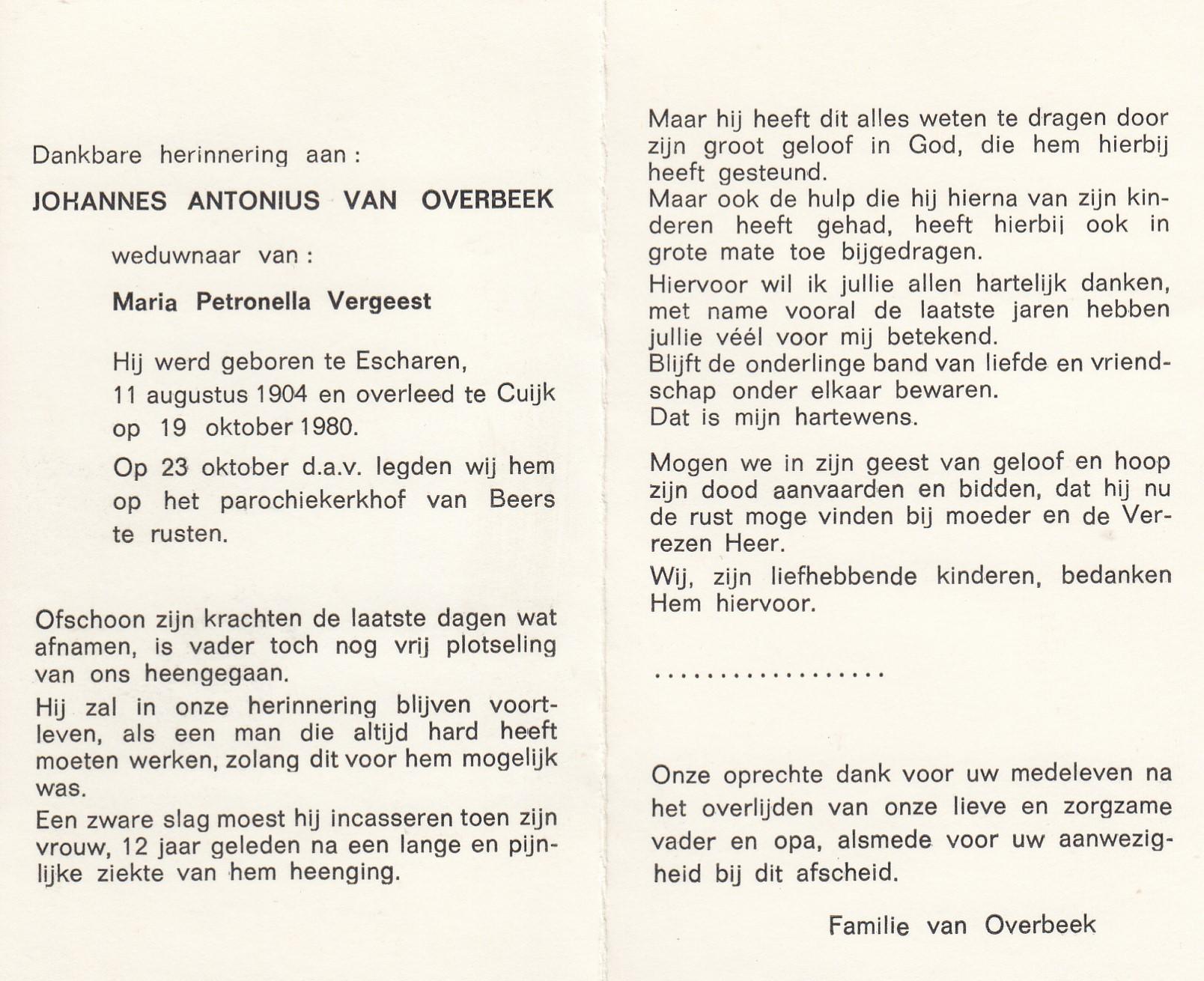 Bidprentje Johannes Antoniusvan Overbeek