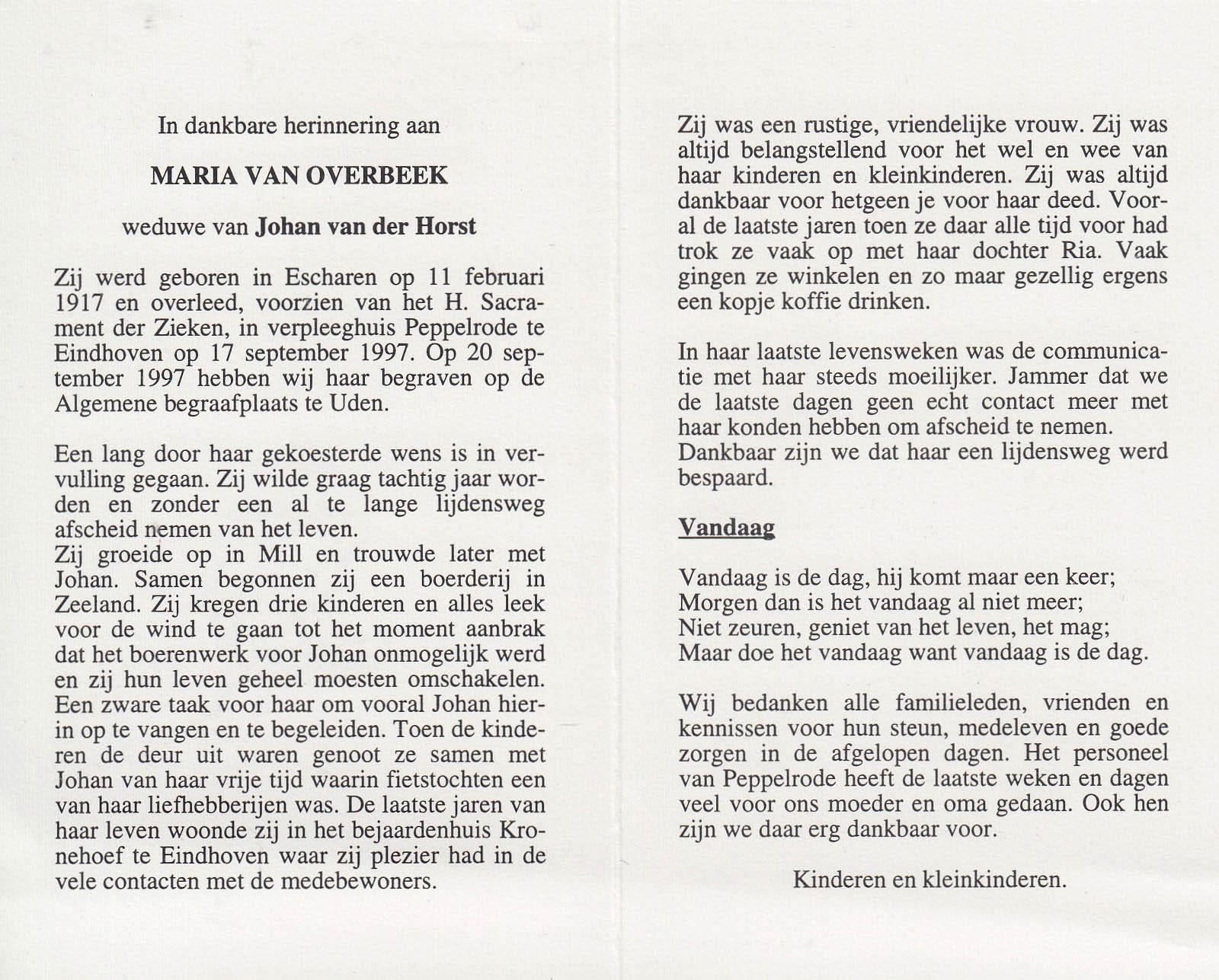 Bidprentje Mariavan Overbeek