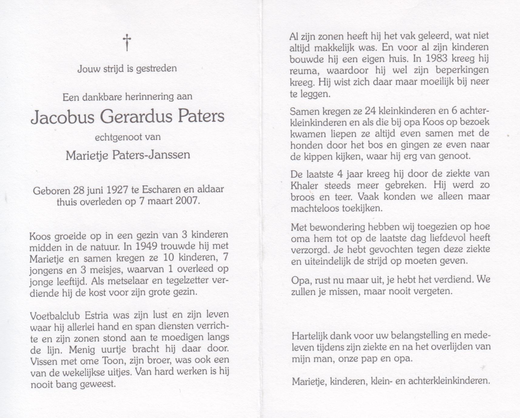 Bidprentje Jacobus Gerardus Paters