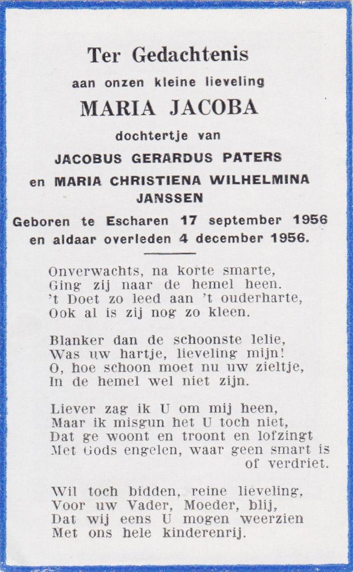 Bidprentje Maria Jacoba Paters