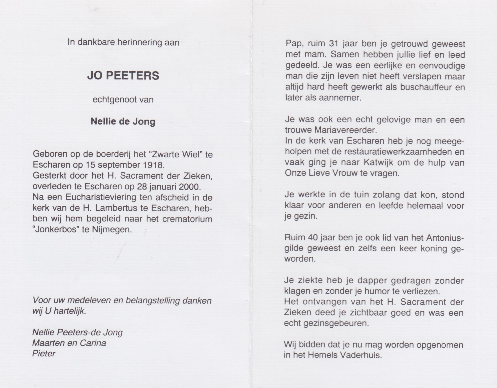 Bidprentje Jo Peeters