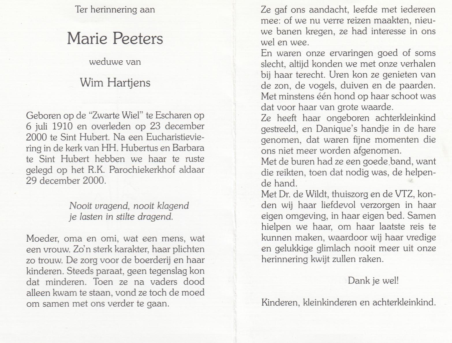 Bidprentje Maria Hendrina Peeters