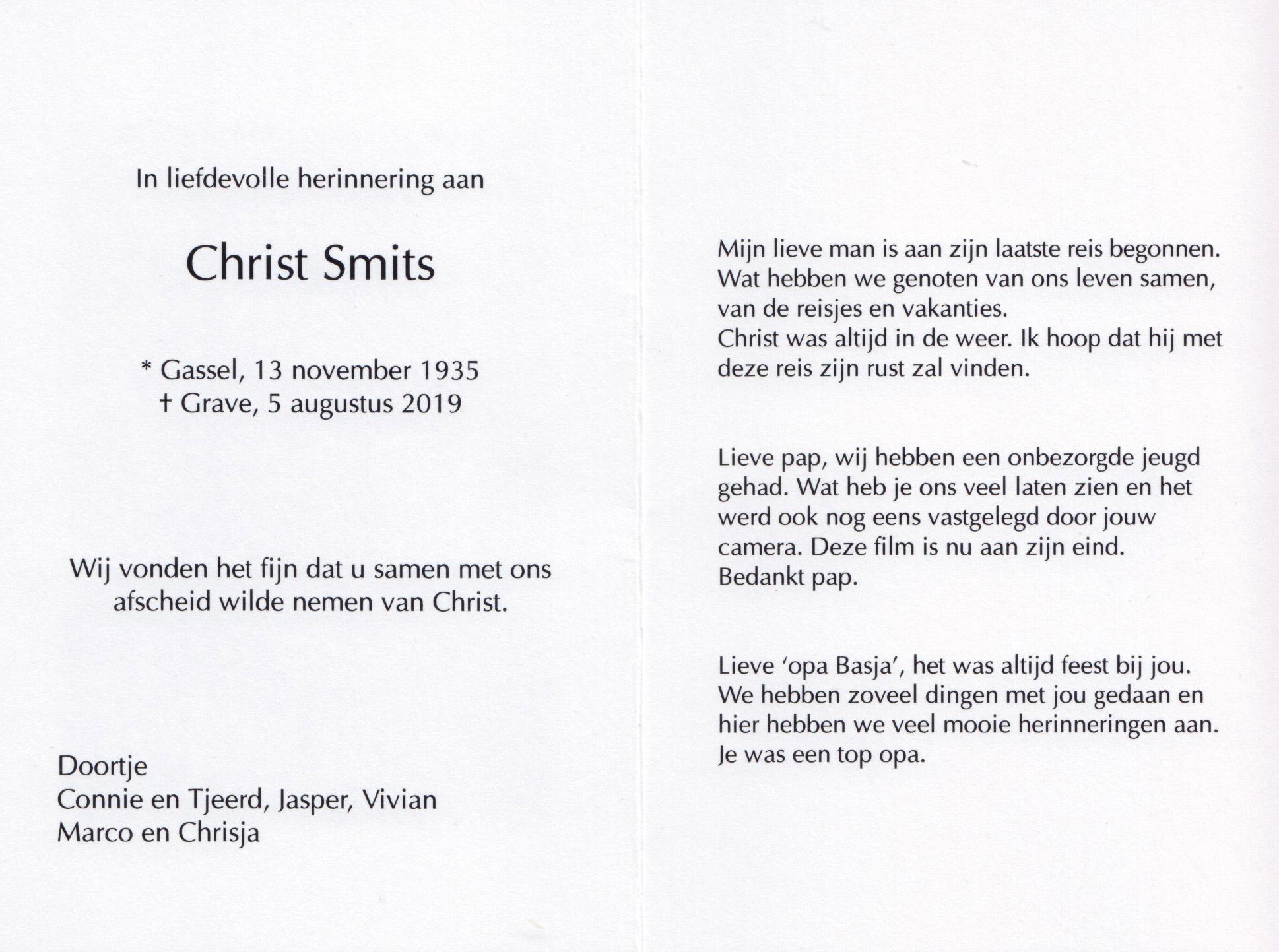 Bidprentje Christ Smits
