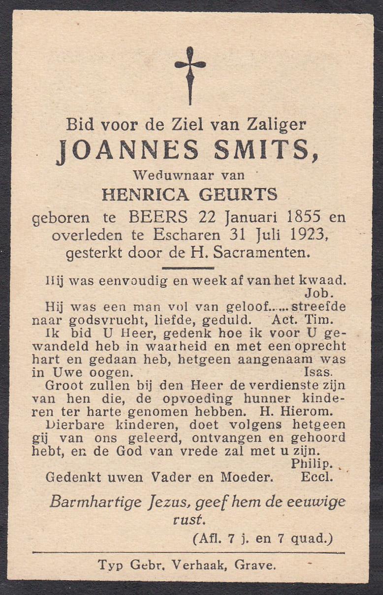 Bidprentje Joannes Smits