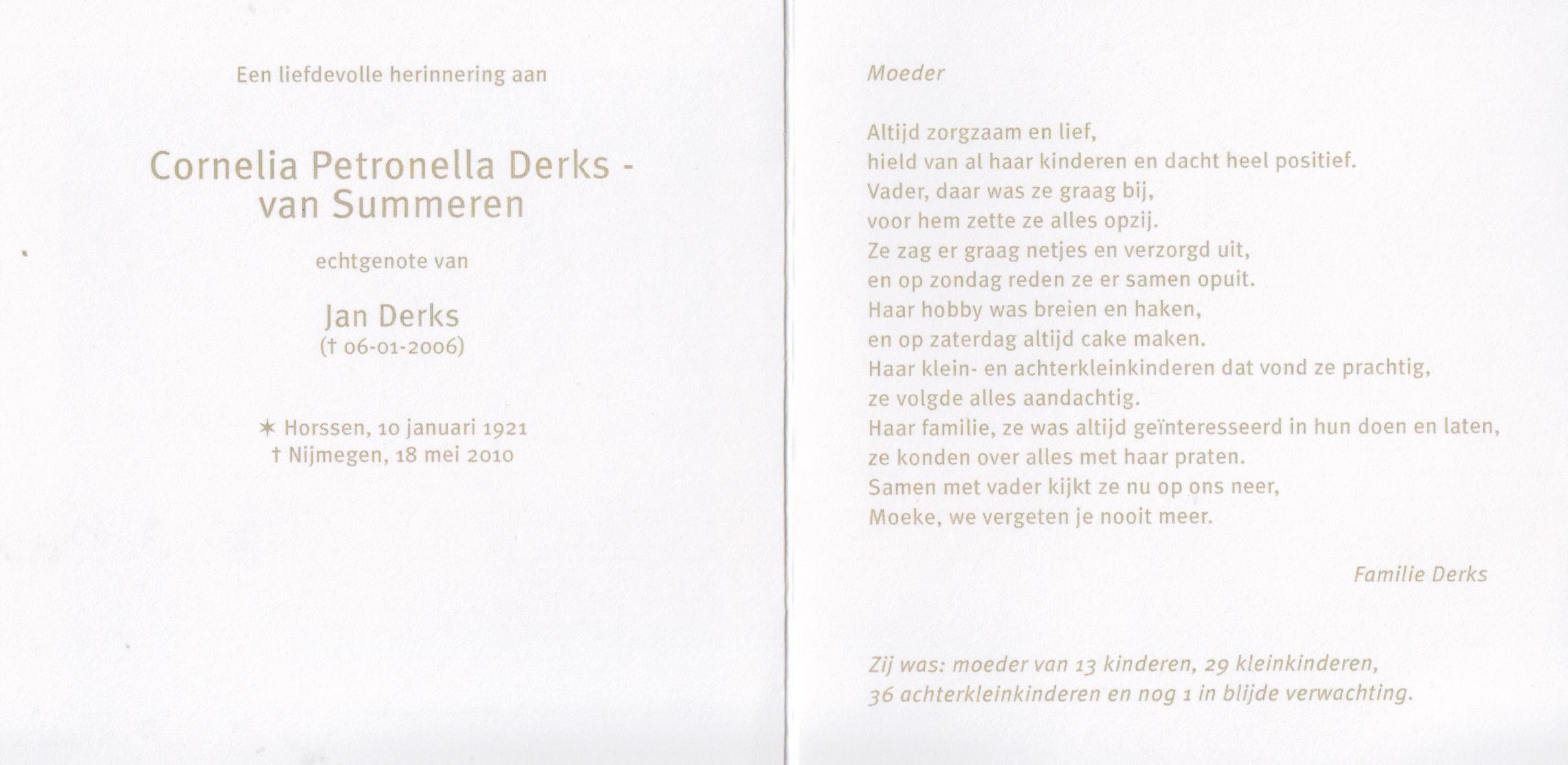 Bidprentje Cornelia Petronellavan Summeren