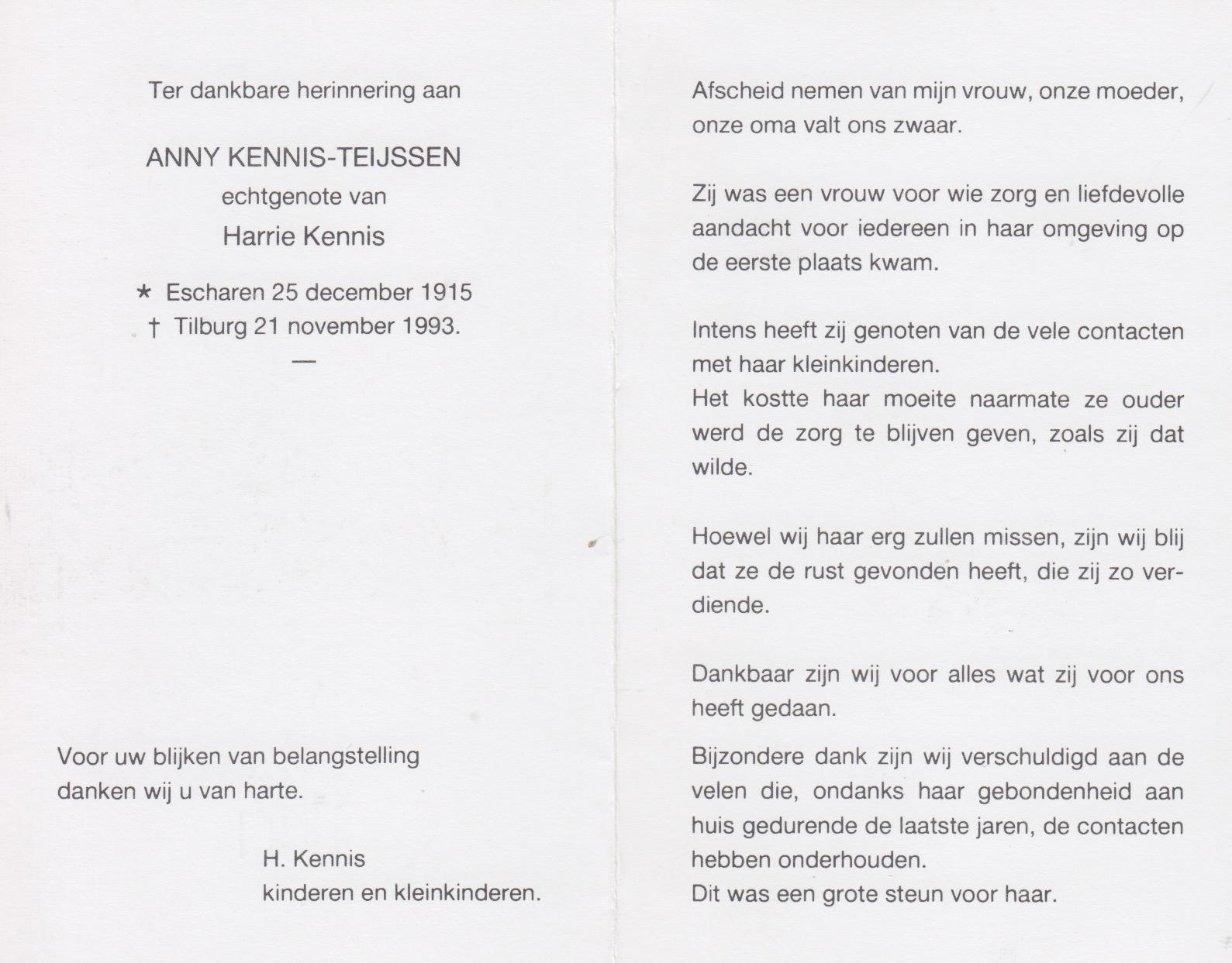Bidprentje Anny Teijssen