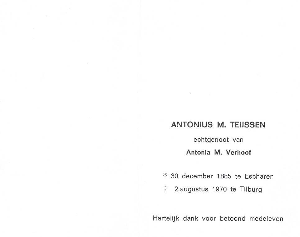 Bidprentje Antonius M. Teijsssen