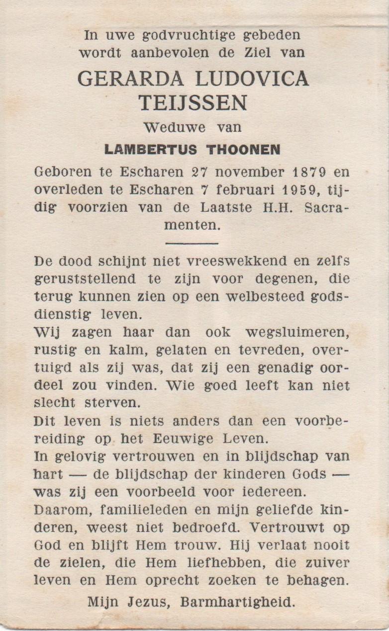 Bidprentje Gerarda Ludovica Teijssen
