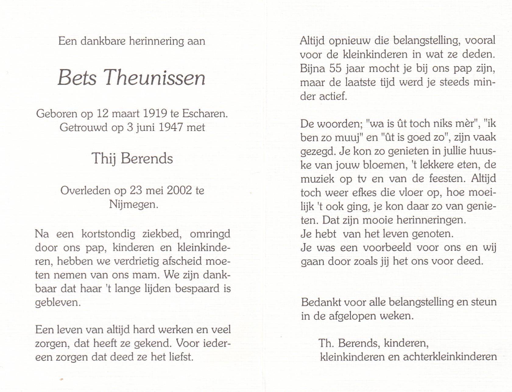 Bidprentje Bets Theunissen
