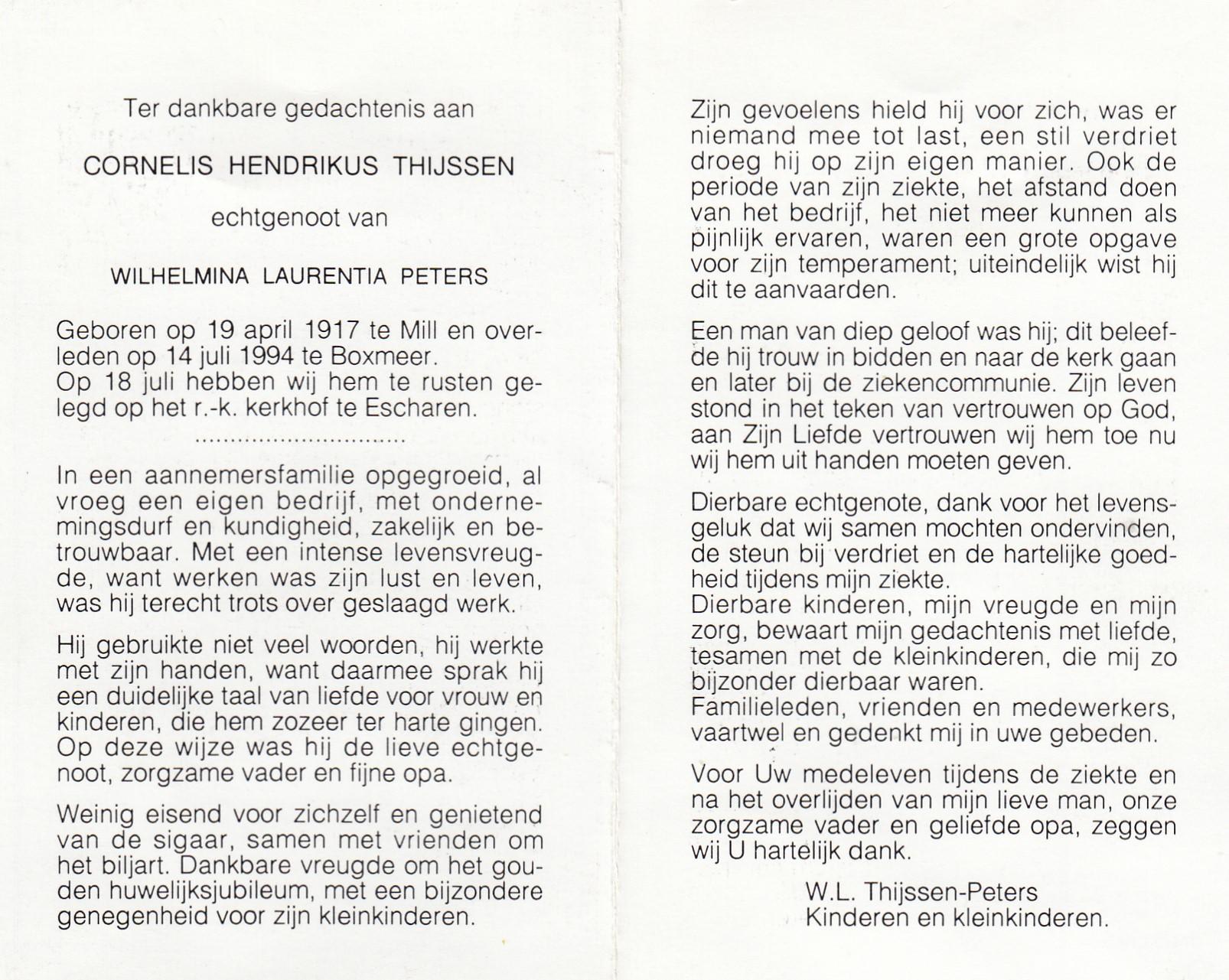 Bidprentje Cornelis Hendrikus Thijssen