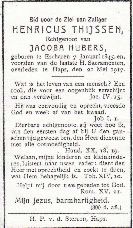 Bidprentje Henricus Thijssen