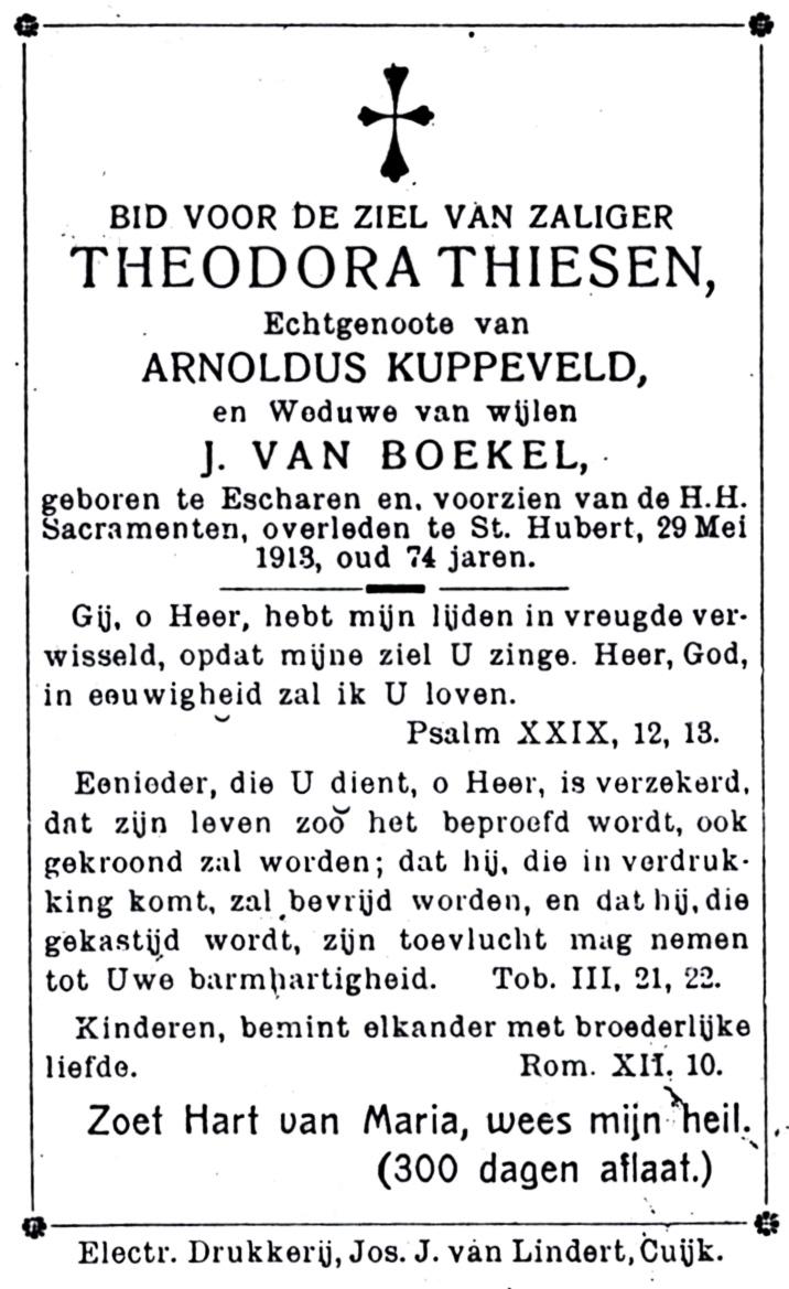 Bidprentje Theodora Thijssen