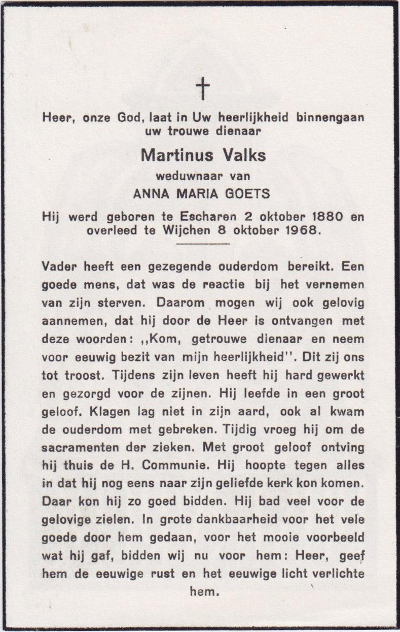 Bidprentje Martinus Valks
