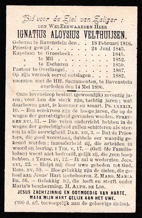 Bidprentje Ignatius Aloysius Velthuijsen