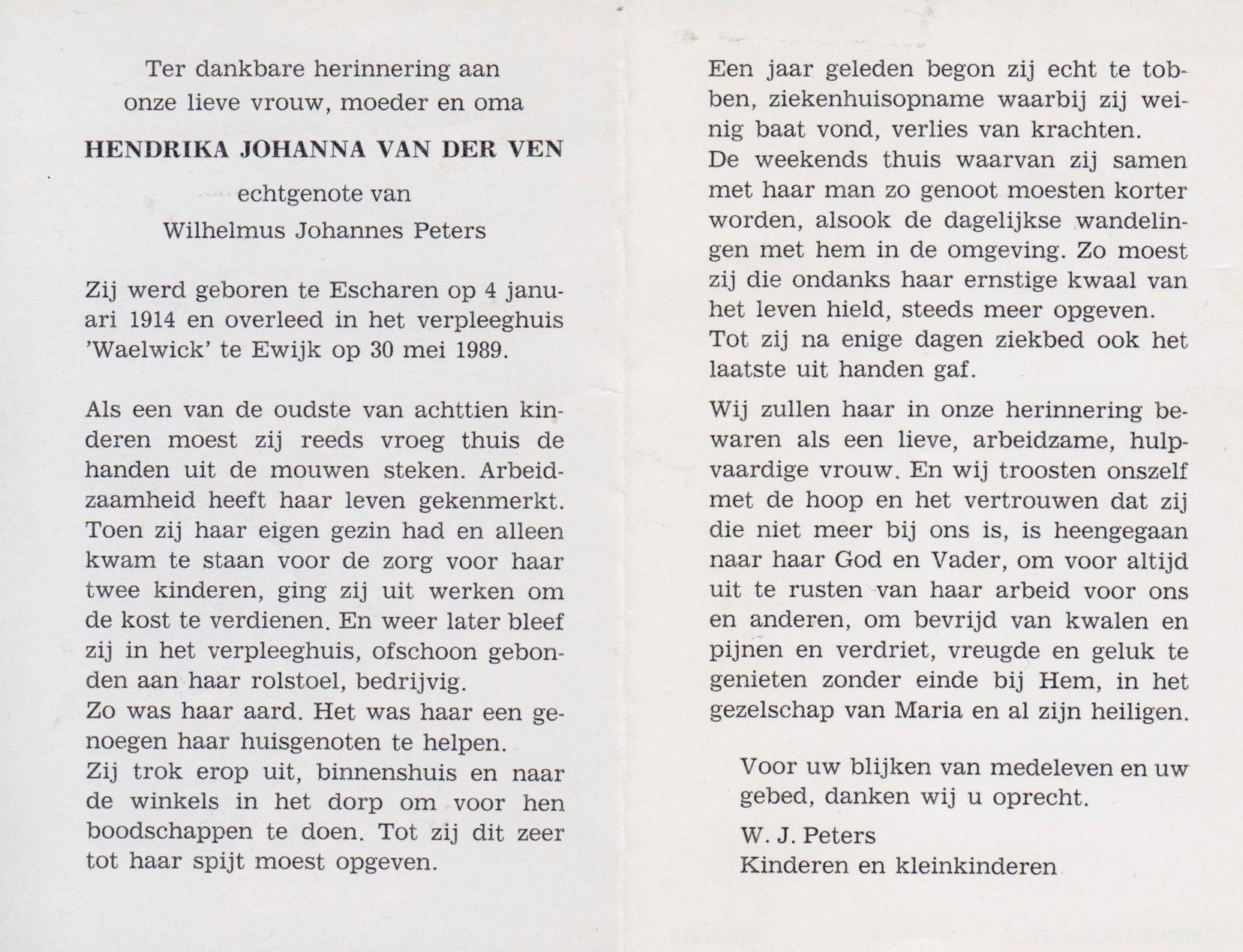 Bidprentje Hendrika Johannavan der Ven