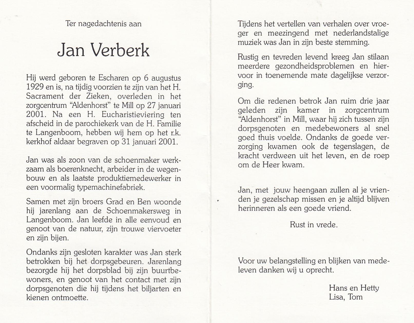 Bidprentje Jan Verberk