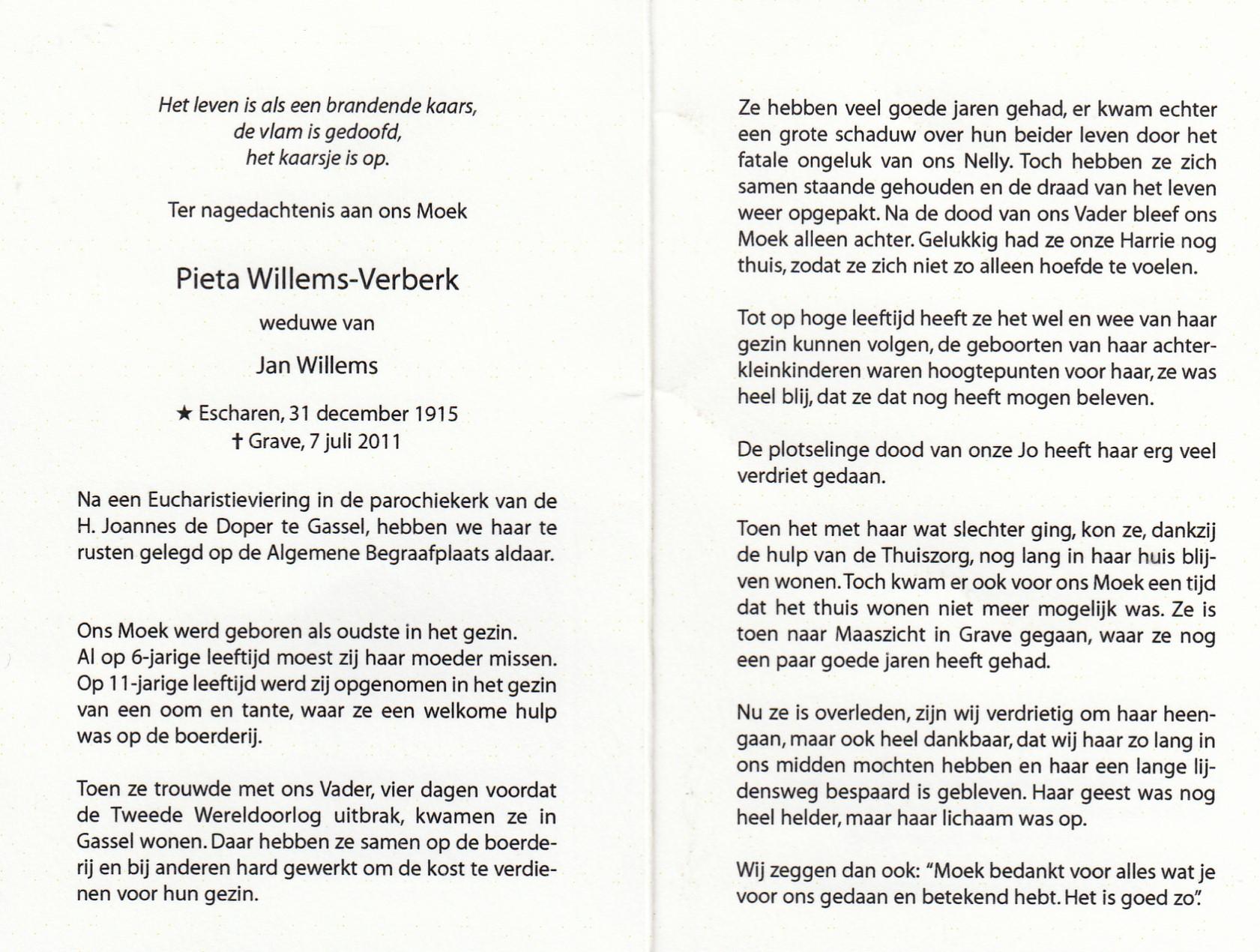 Bidprentje Pieta Verberk