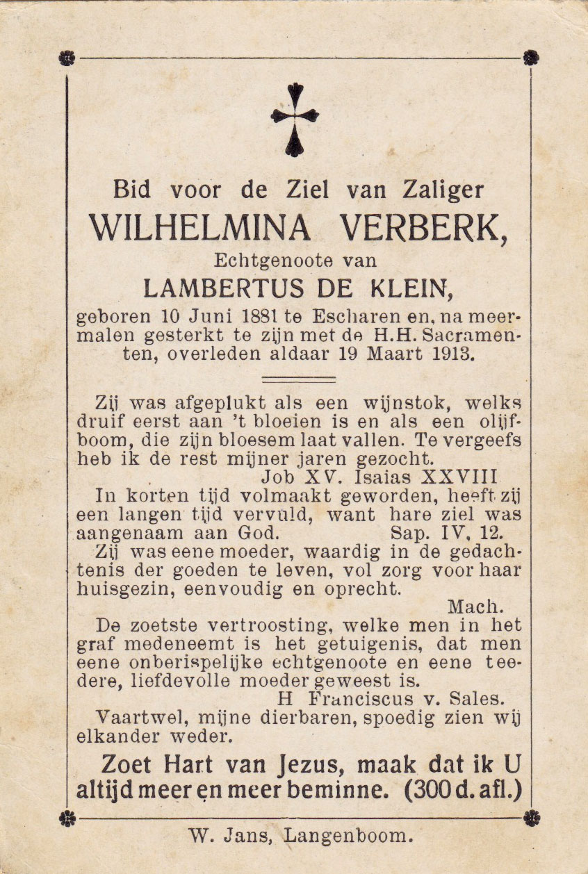 Bidprentje Wilhelmina Verberk