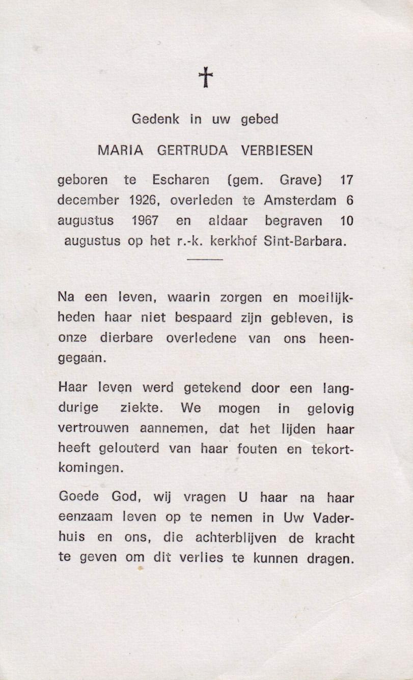 Bidprentje Maria Gertruda Verbiesen