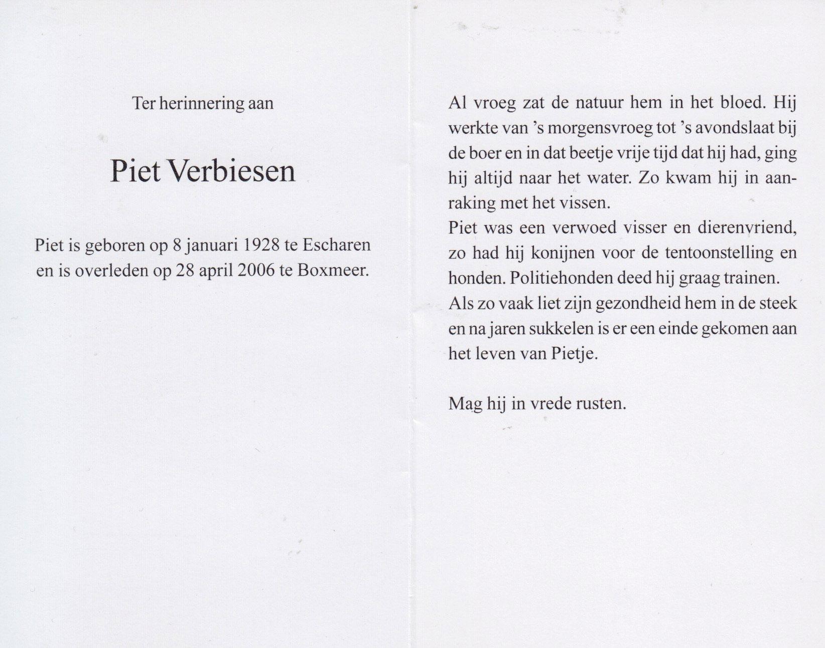 Bidprentje Piet Verbiesen