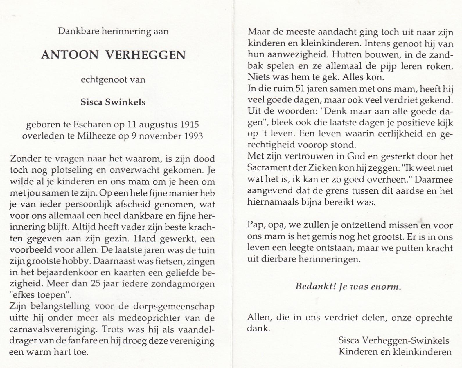 Bidprentje Antoon Verheggen