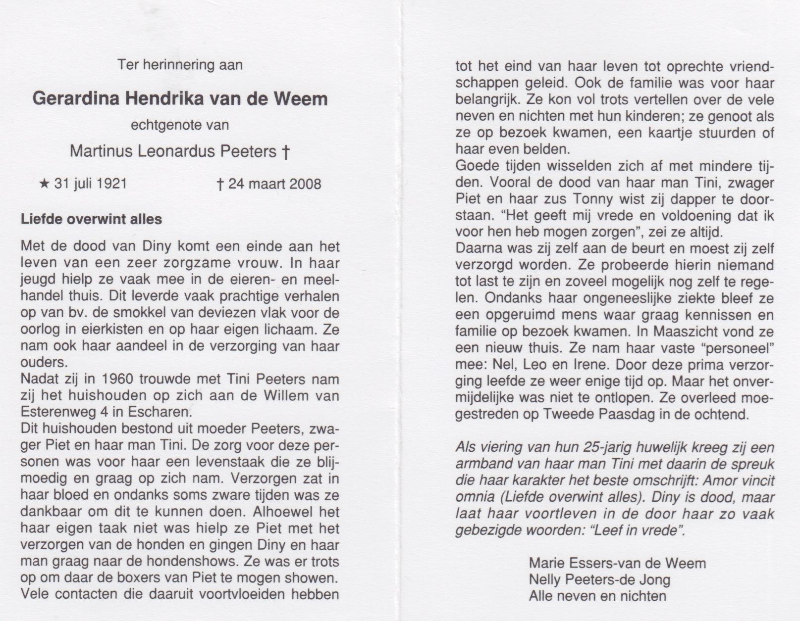 Bidprentje Gerardina Hendrikavan de Weem