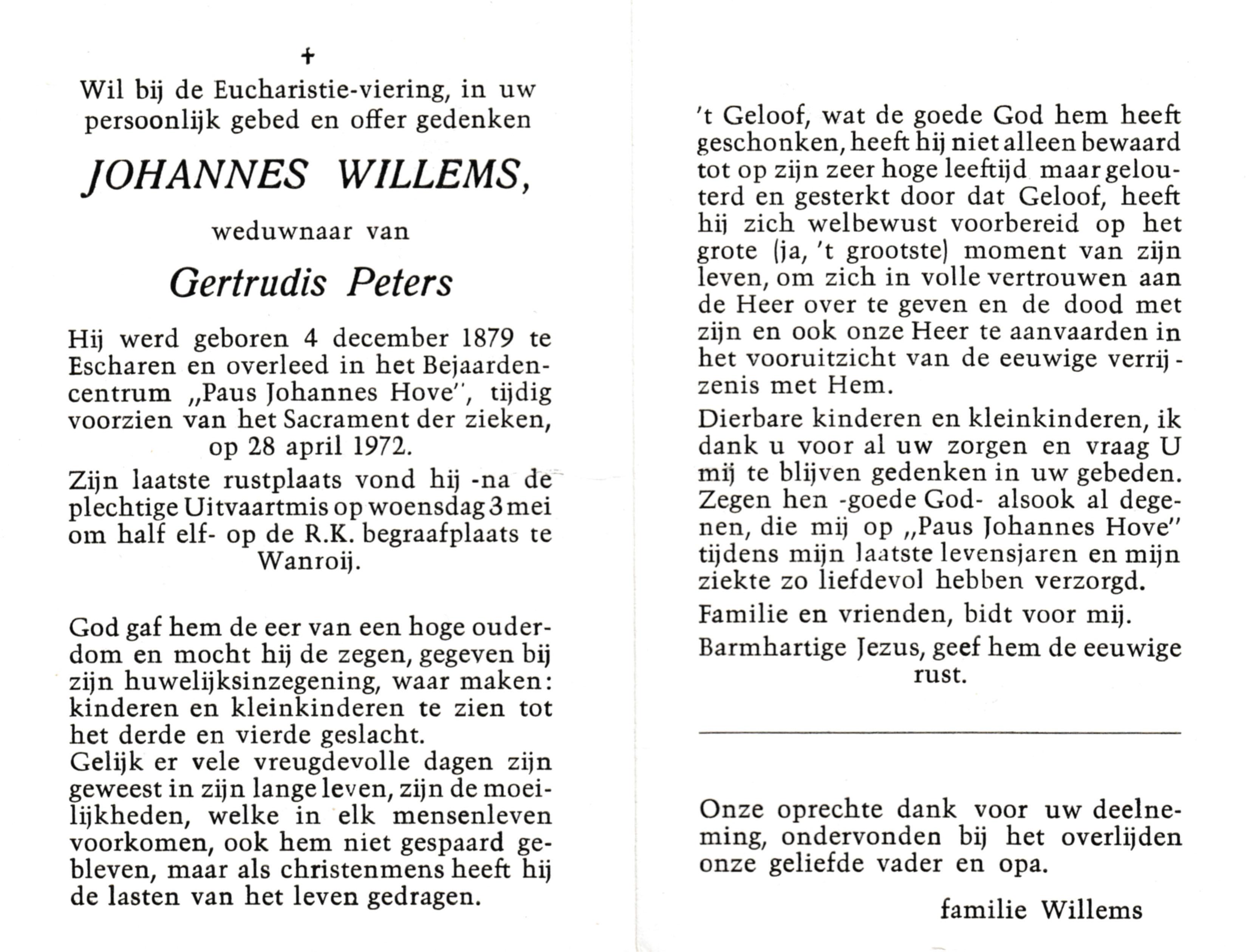Bidprentje Johannes Willems