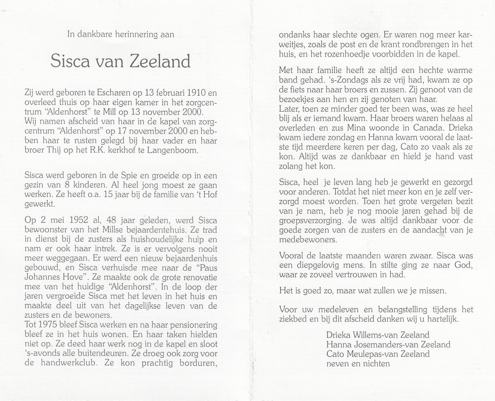 Bidprentje Siscavan Zeeland