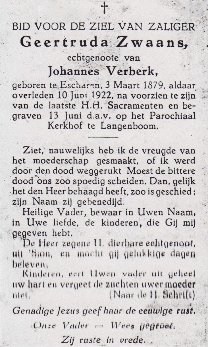 Bidprentje Geertruda Zwaans